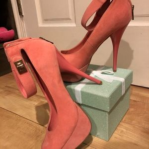 Coral Heels with Ankle Strap